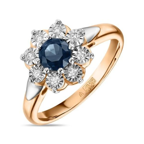 Золотое кольцо ссапфиром ибриллиантом
