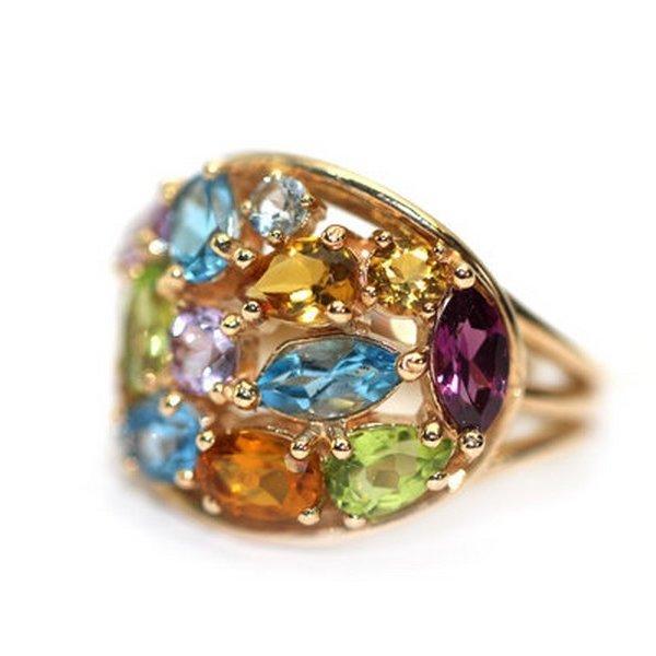 Золотое кольцо саметистом, родолитом, топазом, хризолитом ицитрином
