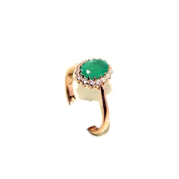 Серебряное кольцо сагатом зеленым ифианитом