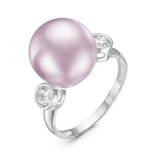 Серебряное кольцо сфианитом ижемчугом искусственным