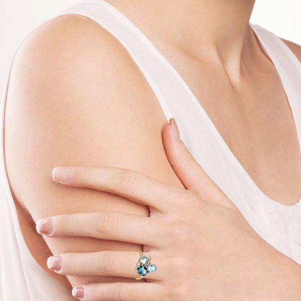 Золотое кольцо сфианитом, топазом лондон итопазом