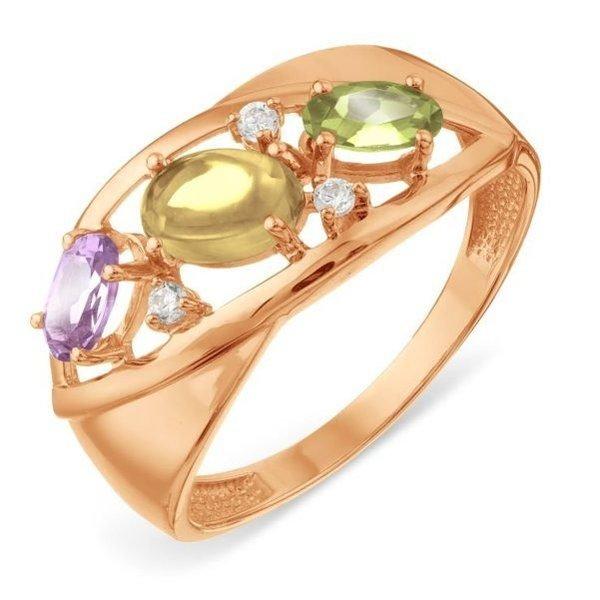 Золотое кольцо сцитрином, хризолитом, фианитом иаметистом
