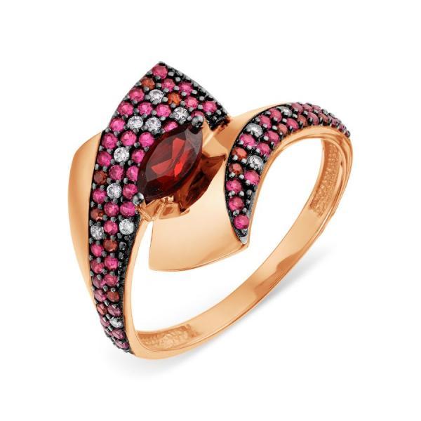 Золотое кольцо сгранатом ифианитом