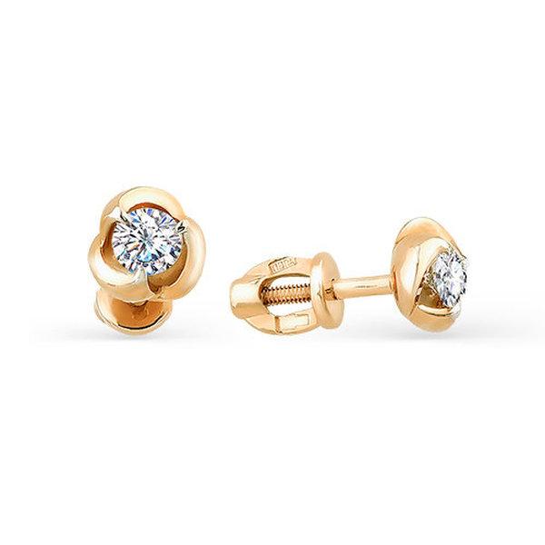 Золотые серьги-пусеты сбриллиантом