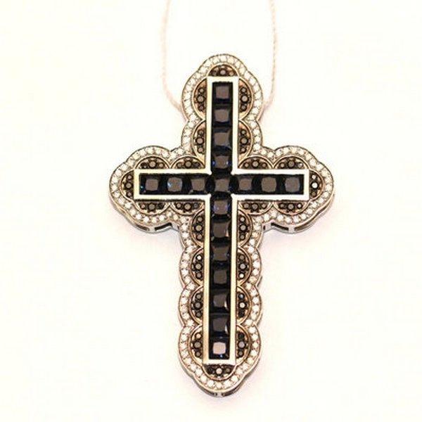 Золотой крест счерным бриллиантом, сапфиром ибриллиантом