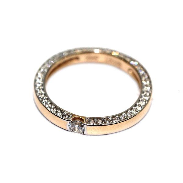 Золотое обручальное кольцо сфианитом