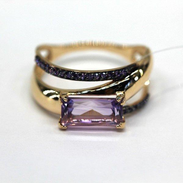 Золотое кольцо сфианитом иаметистом
