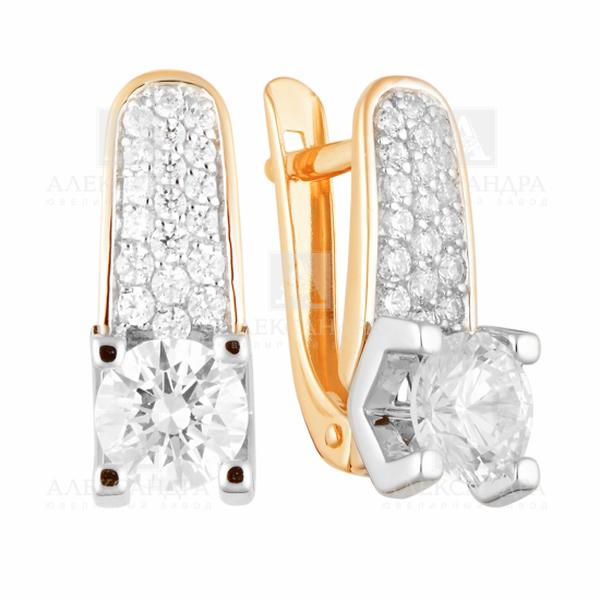 Золотые серьги скристаллом сваровски