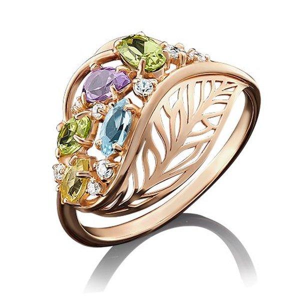 Золотое кольцо сфианитом, аметистом, хризолитом, топазом ицитрином