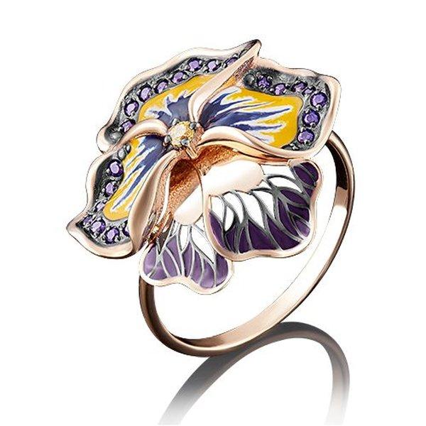 Золотое кольцо сфианитом иэмалью