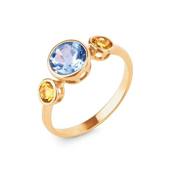 Золотое кольцо стопазом ицитрином