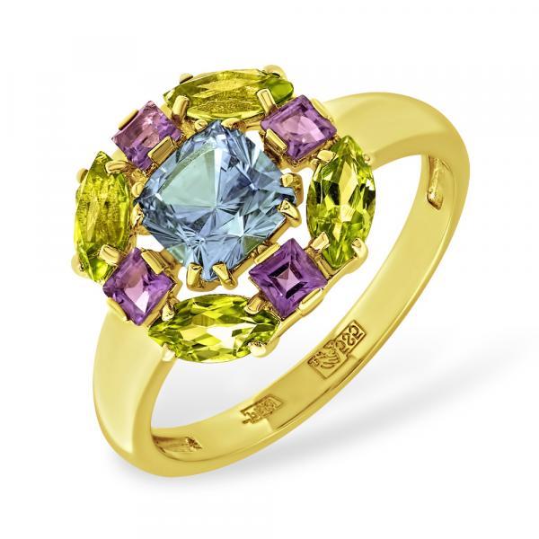 Золотое кольцо скорундом, аметистом ихризолитом