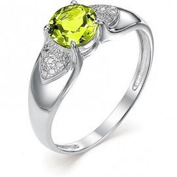 Серебряное кольцо схризолитом ифианитом
