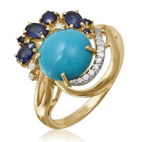 Золотое кольцо ссапфиром