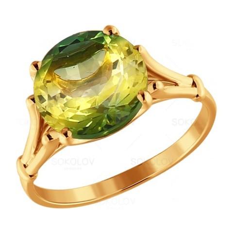 Золотое кольцо схризолитом