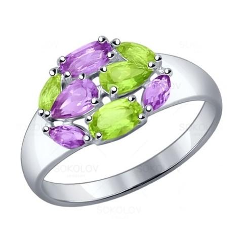 Серебряное кольцо саметистом