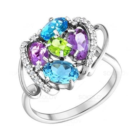 Серебряное кольцо стопазом