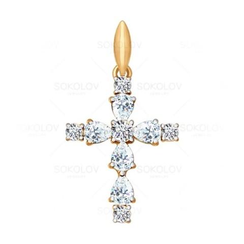 Золотой крест сфианитом