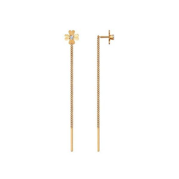 Золотые серьги-продевки сфианитом