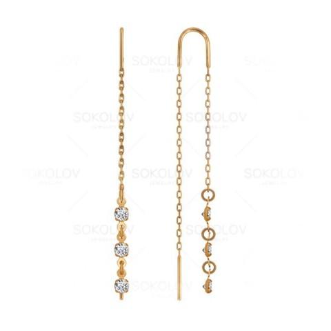Золотые серьги-цепочки сфианитом
