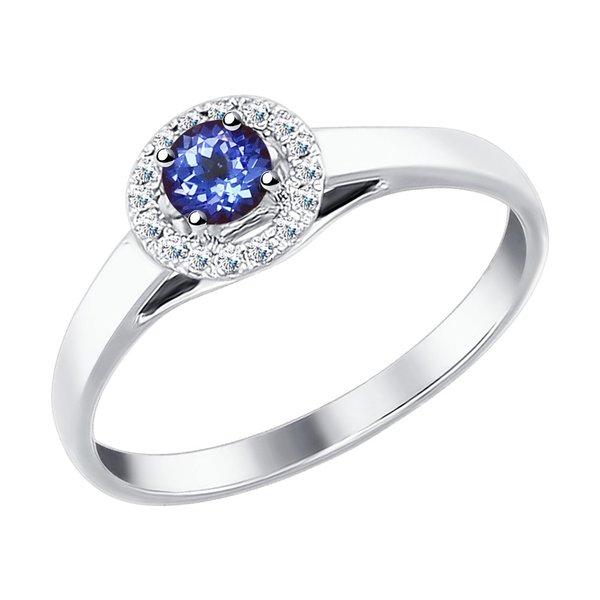 Золотое кольцо сбриллиантом итанзанитом