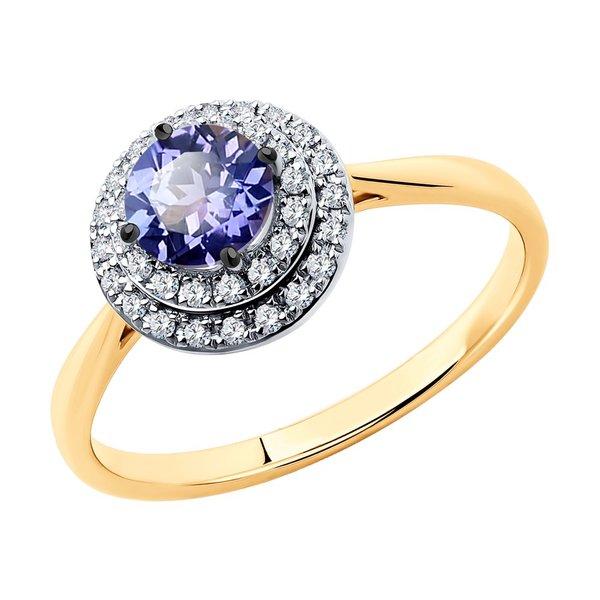 Золотое кольцо станзанитом ибриллиантом