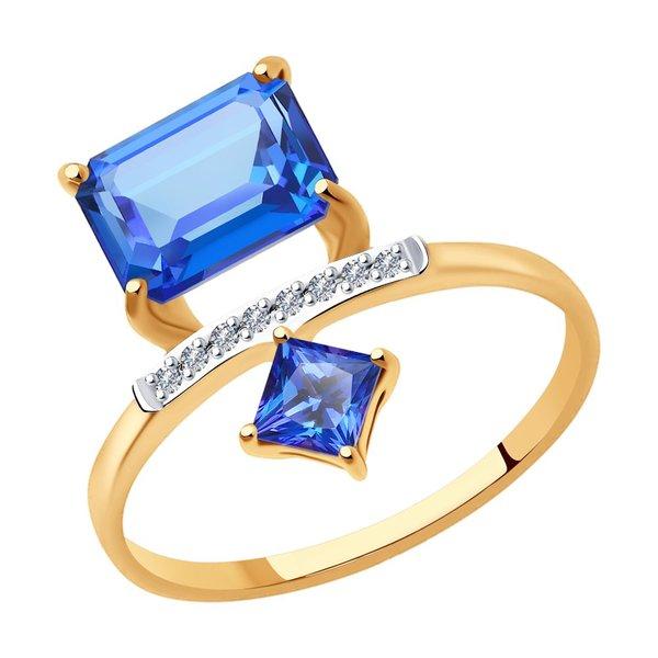 Золотое кольцо сбриллиантом итопазом