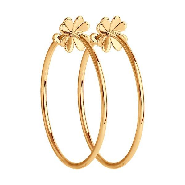 Золотое серьги-конго без вставок