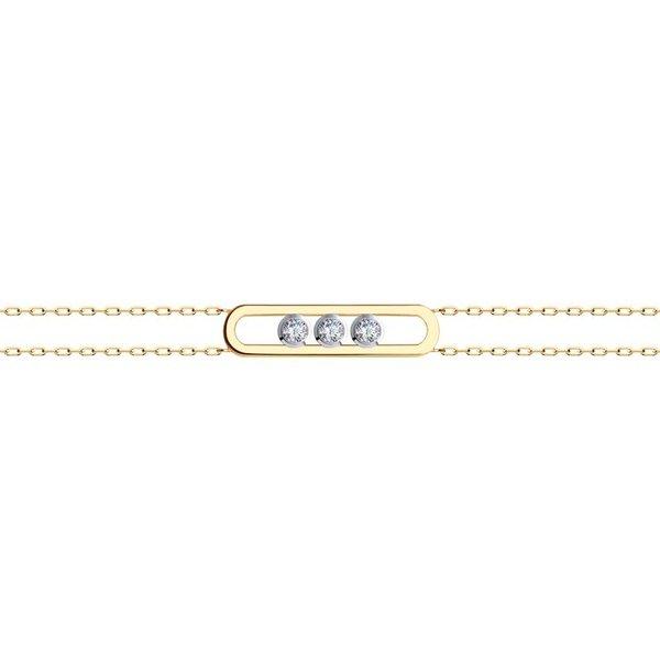 Золотой браслет скристаллом сваровски