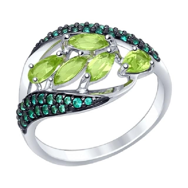 Серебряное кольцо схризолитом
