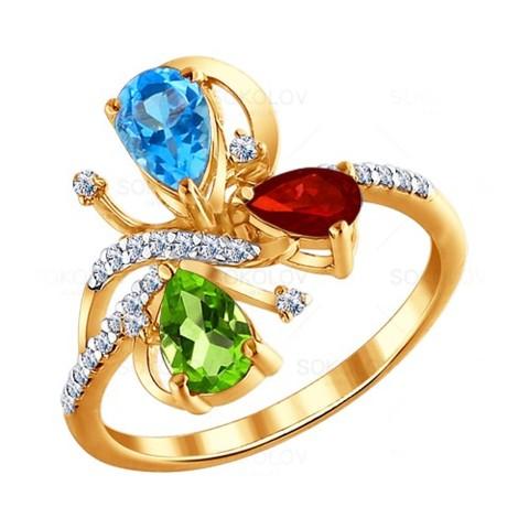 Золотое кольцо стопазом, хризолитом игранатом
