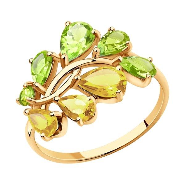 Золотое кольцо схризолитом ицитрином