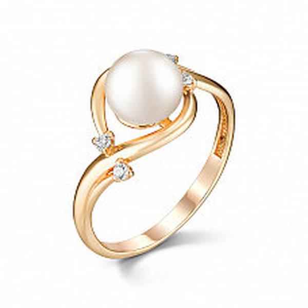 Золотое кольцо сфианитом ижемчугом культивированным