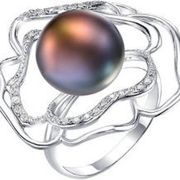 Серебряное кольцо сфианитом ижемчугом культивированным
