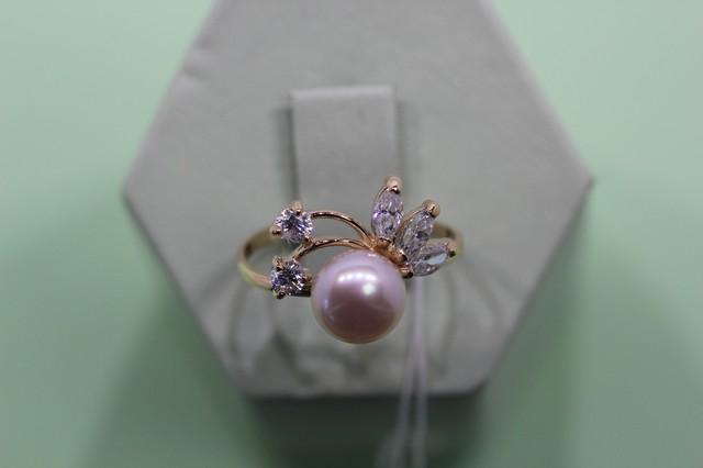 Золотое кольцо сжемчугом культивированным
