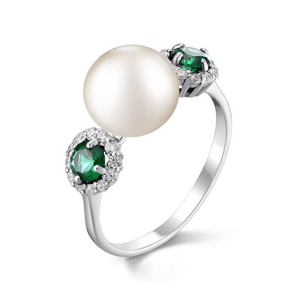 Серебряное кольцо сошпинелью синтетической ижемчугом культивированным