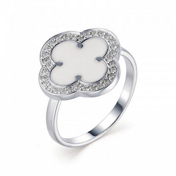 Серебряное кольцо сфианитом иэмалью