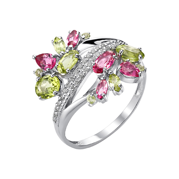 Серебряное кольцо схризолитом ирубеллитом