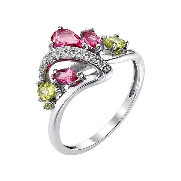 Серебряное кольцо схризолитом, фианитом ирубеллитом синтетическим
