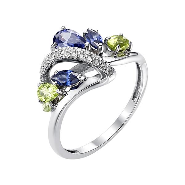Серебряное кольцо станзанитом ихризолитом