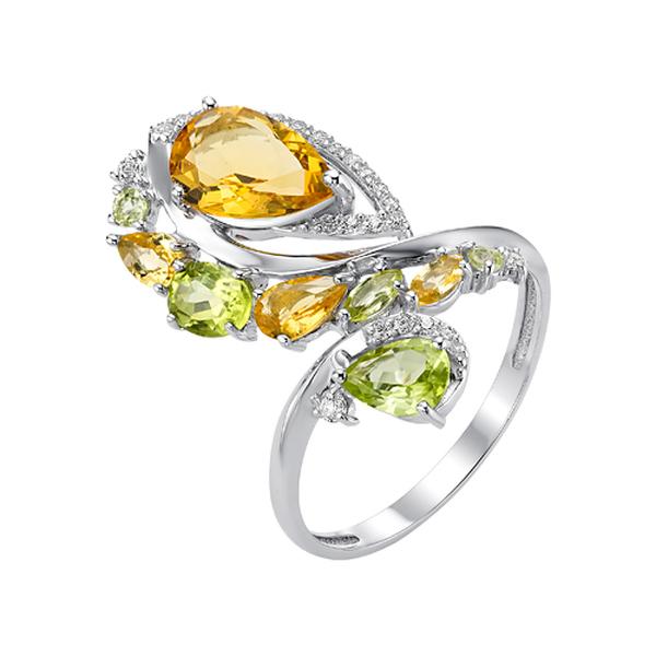 Серебряное кольцо сцитрином выращенным ихризолитом