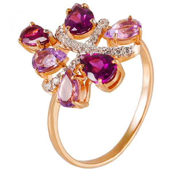 Золотое кольцо схризолитом, фианитом итопазом