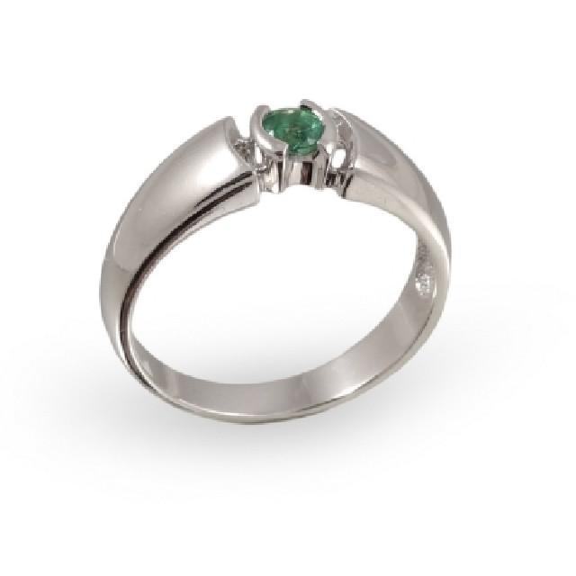 Серебряное кольцо сизумрудом