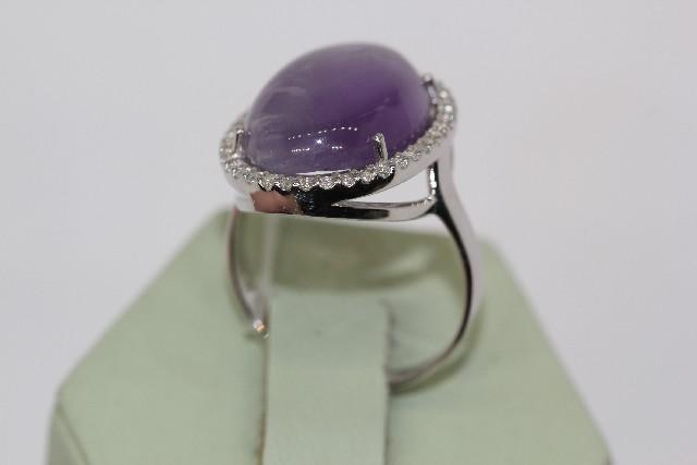 Серебряное кольцо саметистом ифианитом