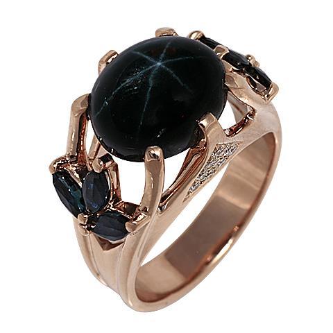 Золотое кольцо сбриллиантом исапфиром