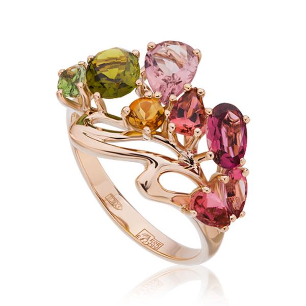 Золотое кольцо стурмалином