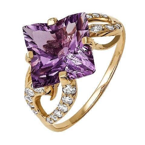 Золотое кольцо саметистом