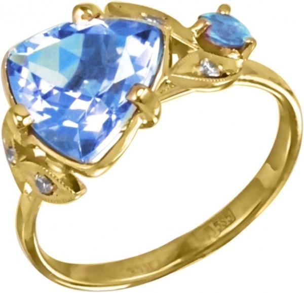 Золотое кольцо сфианитом итопазом