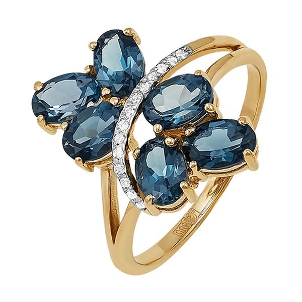 Золотое кольцо сфианитом итопазом лондон