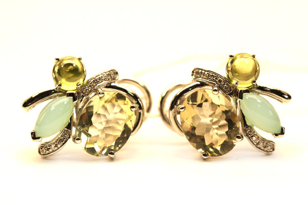 Золотые серьги схалцедоном, перидотом, кварцем ибриллиантом